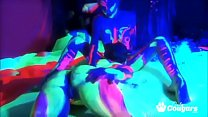 Lesbians Fuck Covered In Glow In The Dark Paint