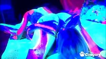 Two hotties covered in psychedelic paint fuck each other