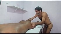 Totally naked erotic massage with the client