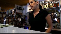 Barmaid European chick Lenka railed in the bar for cash