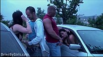 A girl a undressing in a car on the way to the public sex gang bang dogging orgy video