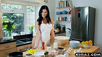 Cooking MILF Jasmine Jae bakes a cake while being fucked thumbnail