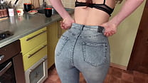 Sexy housewife gives blowjob in the kitchen and...