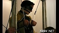 Obedient woman gets tits stimulated in harsh bdsm torment's Thumb