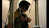 Obedient woman gets tits stimulated in harsh bdsm torment Thumbnail
