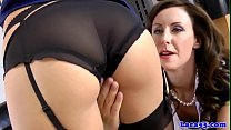 Uniform brit mature feasted on pussy in trio