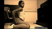 Flexible ebony showing ass