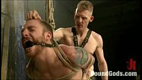 Bondaged and fucked thriugh the suspended zipper