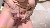 Busty Grandma Takes A Shower After Cuckold Sex