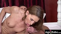 Lusty granny v. is all wet for Mugur's young massive dick
