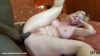 Granny gets ass fucked with dildo and big black cock and cum on big tits thumbnail