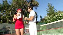 Rich girl Penny Flame rammed hard by her tennis coach