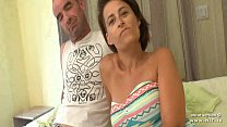 Busty amateur french housewife double penetrated and cum covered in a gangbang porn image