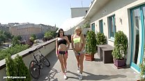 April Blue and Ivana Sugar in rough anal threesome scene by Ass Traffic