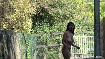 Afro ebony teens public nudity and dildo masturbation outdoors Preview