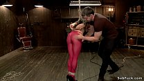 Tied sub in red tights gets spanked