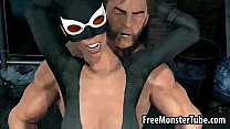 3D Catwoman getting fucked outdoors by Wolverine