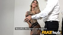 Fake Agent German girl with tattoos and natural... thumb