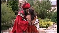 Sex in historical costume of a bridesmaid and a black man