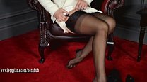 Posh Milf Leggy Lana teases in sheer nylons the...