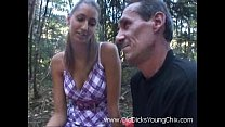 Old guy fuck young chick in the woods