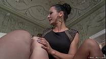 Busty Czech lesbian whipped and anal