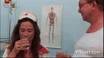 Gynecologist and his nurse drinking each others hot piss Image