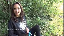 Flashing Ella James in public nudity and daring outdoor masturbation of brunette
