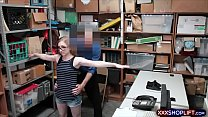Geek shoplifter chick gets punished with a huge...