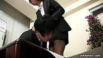 Asian office lady Tsubaki face sitting the siss...