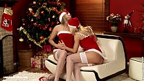 Karie and Salma anal lesbian action in Christma...