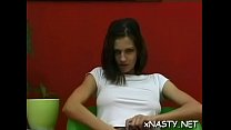 Charming brunette Kendra with firm natural tits is rubs her clit's Thumb