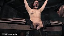 Sweet slave gets her pussy lips clamped and clit stimulated by a vibrator