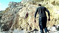 10530 Blonde Alpinist Climbs on a Hard Rod on the Beach preview