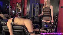 British femdom milf assfucks sub with machine