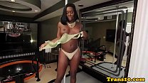 Shemale ebony with bigbooty tugging her cock thumbnail