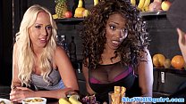 Squirting blondes threeway fun with ebony pal Thumbnail
