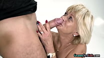 Granny sucks dick before riding and doggystyle