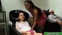 Ebony hairdresser licks customers pussy Preview