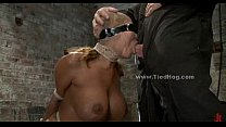 Sex slave with huge breasts tied like a hog and fucked in extreme deepthroat sex (Stop jerking off! Visit RealOne24.com)