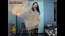 Hot Teen dancing with feathers
