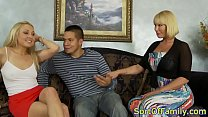 Bigtitted st epmom sharing cock in taboo trio