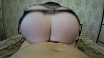 Thick milf rides on a girlfriend, her big ass shakes, huge tits swing, lesbians POV. thumbnail