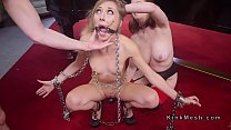 Gagged small tits slave anal fucked in threesome preview image