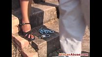 African chubby babe outdoor whipped tied up