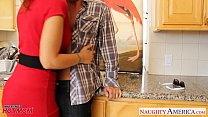Stockinged mom Syren De Mer fucking in kitchen's Thumb