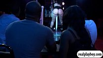Black couple threesome with sexy babe from pole...