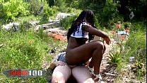 Young amateur ebony chick first porn video outd...