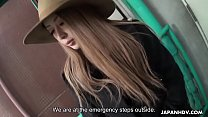Asian babe with a hat on sucks a fat dick slowly