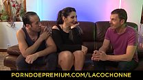 LA COCHONNE - Brunette French amateur Mylene Johnson shows her curves in MMF threesome thumbnail